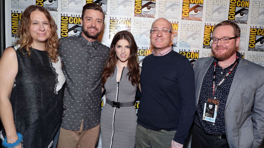 TROLLS filmakers and voice actors backstage at DreamWorks Animation's Comic Con Hall H Panel. (from left) Producer Gina Shay, Justin Timberlake, Anna Kendrick, Director Mike Mitchell, and Co-Director Walt Dorn.