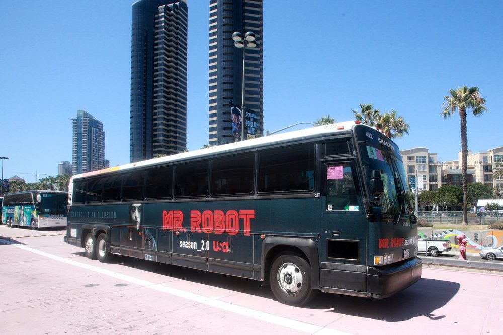 "COMIC-CON INTERNATIONAL: SAN DIEGO 2016 -- ""NBC at Comic-Con"" -- Pictured: ""Mr. Robot"" Bus Wrap -- (Photo by: David Yeh/USA)"
