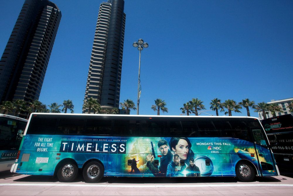 "COMIC-CON INTERNATIONAL: SAN DIEGO 2016 -- ""NBC at Comic-Con"" -- Pictured: ""Timeless"" Bus Wrap -- (Photo by: David Yeh/NBC)"