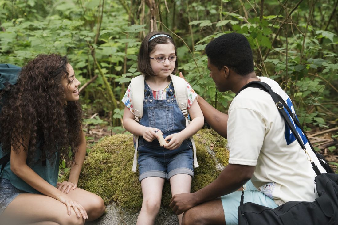 """DEAD OF SUMMER - """"How to Stay Alive in the Woods"""" - Joel has an eye-opening experience during the overnight camping excursion in """"How to Stay Alive in the Woods,"""" an all-new episode of """"Dead of Summer,"""" airing TUESDAY, JULY 26 (9:00 - 10:00 p.m. EDT), on Freeform. (Freeform/Katie Yu) PAULINA SINGER, LIA FRANKLAND, ELI GOREE"""