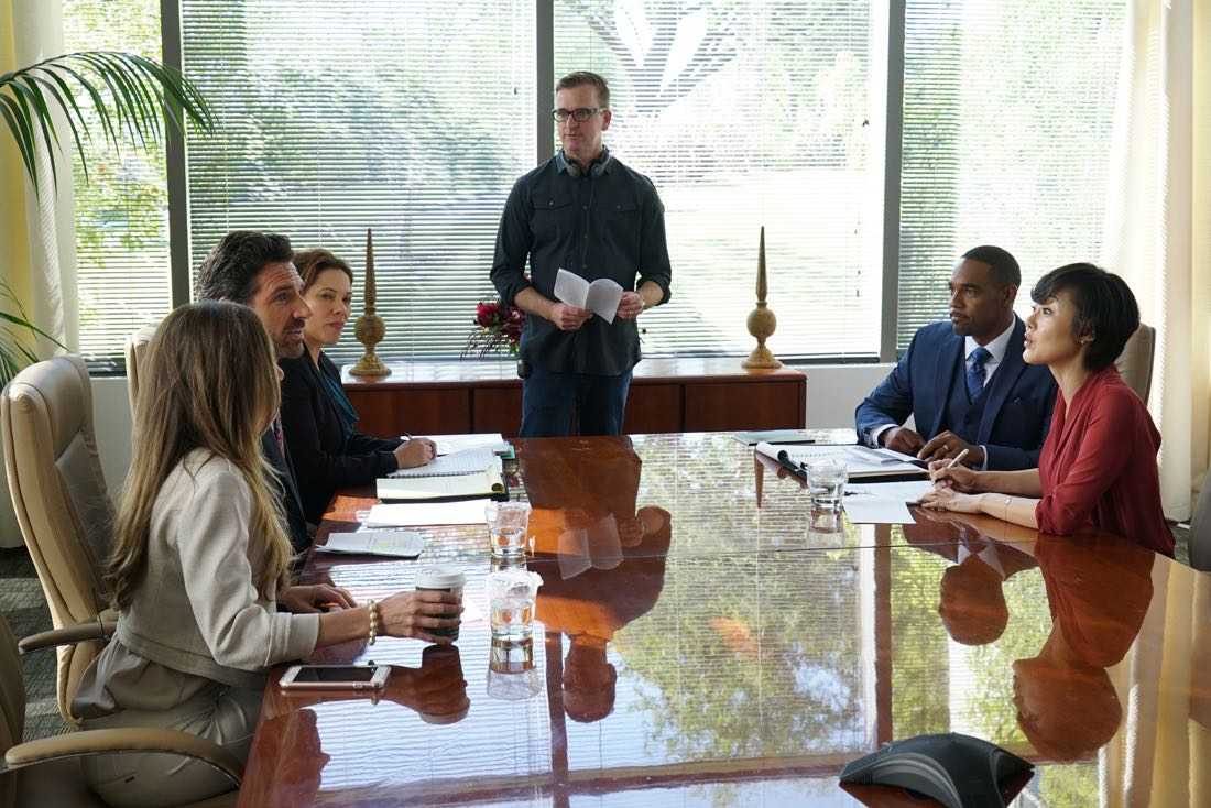 "MISTRESSES - """"Survival of the Fittest"" - Alec threatens for full custody of Vivian, sending Karen into a panic. April and Marc find a condom in Lucy's jacket, forcing April to give ""the talk."" Kate doesn't tell Joss and Harry about her new boyfriend, as it could have serious recuperations. Joss' actions put Jonathan's nephew in the hospital and later causes tension in her and Harry's relationship. Based on the hit U.K. television series of the same name, ""Mistresses"" airs TUESDAY, AUGUST 2 (10:00-11:00 p.m. EDT), on the ABC Television Network. (ABC/Eric McCandless) ED QUINN, ROMI DIAS, JOHN SCOTT (DIRECTOR), JASON GEORGE, YUNJIN KIM"
