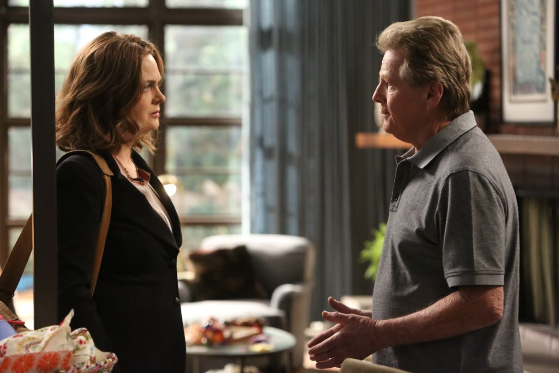 """BONES: L-R: Emily Deschanel and guest star Ryan O'Neal in the """"The Nightmare Within The Nightmare"""" season finale episode of BONES airing Thursday, July 21 (8:00-9:00 PM ET/PT) on FOX.  ©2016 Fox Broadcasting Co.  Cr:  Patrick McElhenney/FOX"""