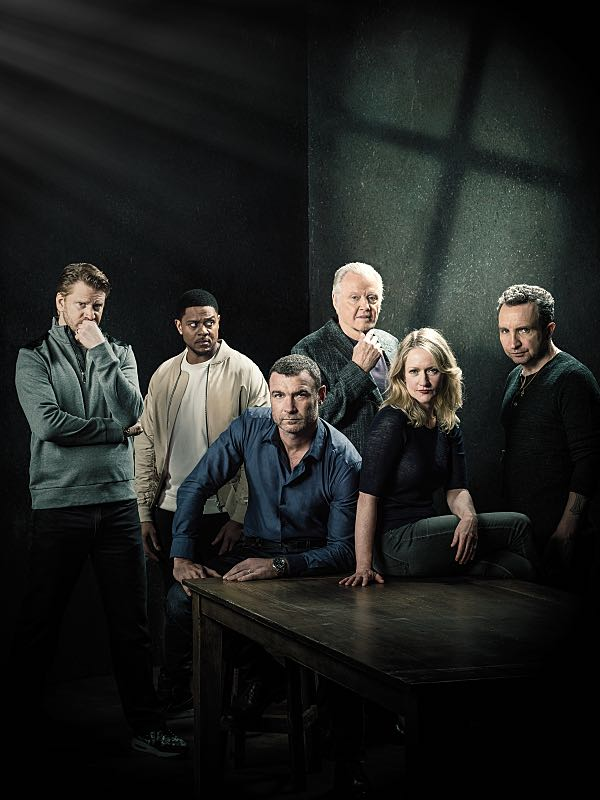 Dash Mihok as Bunchy Donovan, Pooch Hall as Daryll, Liev Schreiber as Ray Donovan, Jon Voight as Mickey Donovan, Paula Malcomson as Abby Donovan and Eddie Marsan as Terry Donovan in RAY DONOVAN (Season 4, Gallery). - Photo: Brian Bowen Smith/SHOWTIME