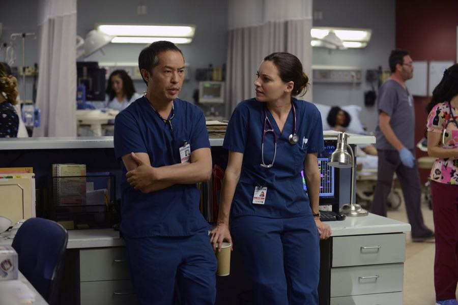 "THE NIGHT SHIFT -- ""Unexpected"" Episode 309 -- Pictured: (l-r) Ken Leung as Dr. Topher Zia, Jill Flint as Dr. Jordan Alexander -- (Photo by: Ursula Coyote/NBC)"