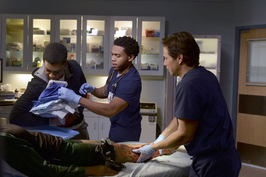 "THE NIGHT SHIFT -- ""Unexpected"" Episode 309 -- Pictured: (l-r) JR Lemon as Kenny Fournette, Robert Bailey Jr. as Dr. Paul Cummings, Scott Wolf as Dr. Scott Clemmens -- (Photo by: Ursula Coyote/NBC)"