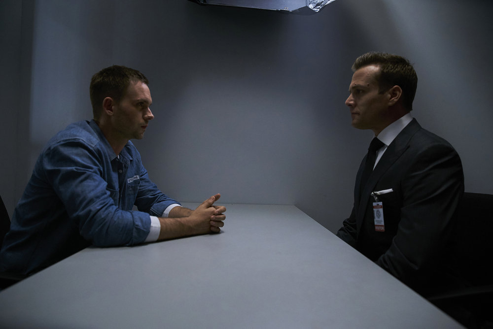 """SUITS -- """"Accounts Payable"""" -- Pictured:  (l-r) Patrick J. Adams as Michael Ross, Gabriel Macht as Harvey Specter -- (Photo by: Shane Mahood/USA Network)"""