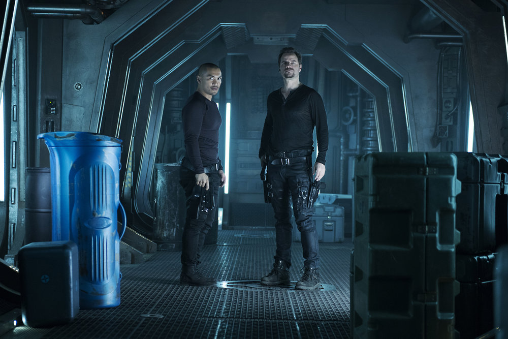 """DARK MATTER -- """" I've Seen The Other Side of You  """" Episode 203 -- Pictured:  (l-r) Alex Mallari, Jr. as Four, Anthony Lemke as Three -- (Photo by: Christos Kalohoridis/Prodigy Pictures/Syfy)"""