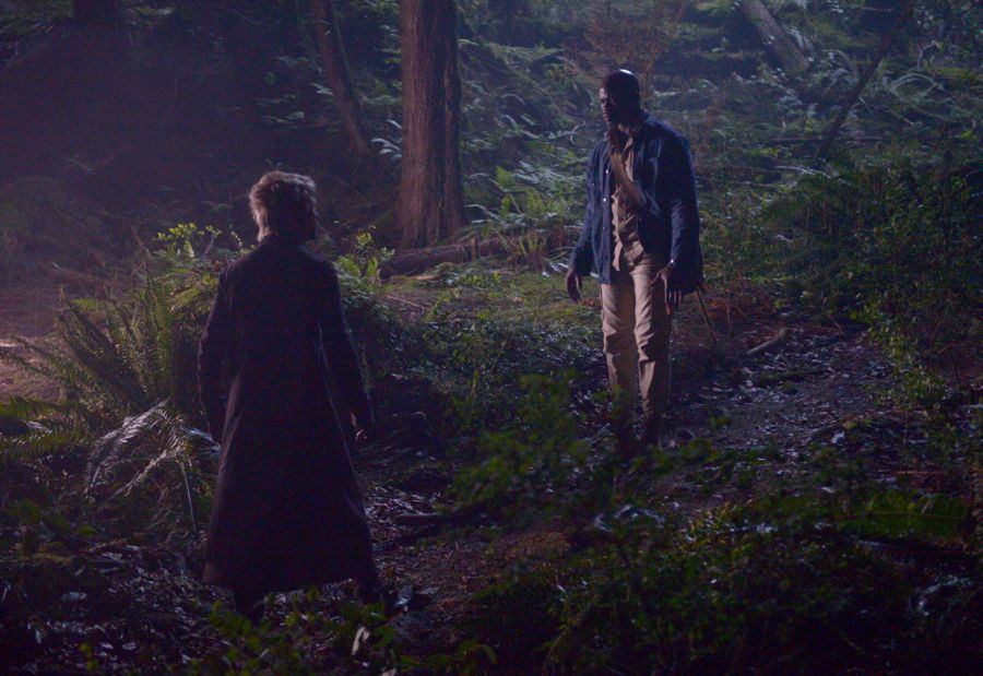"WAYWARD PINES: L-R: Guest star Dakota Daulby and Djimon Hounsou in the ""Time Will Tell"" episode of WAYWARD PINES airing Wednesday, July 6 (9:00-10:00 PM ET/PT) on FOX. ©2016 Fox Broadcasting Co. Cr: Sergei Bachlakov/FOX"