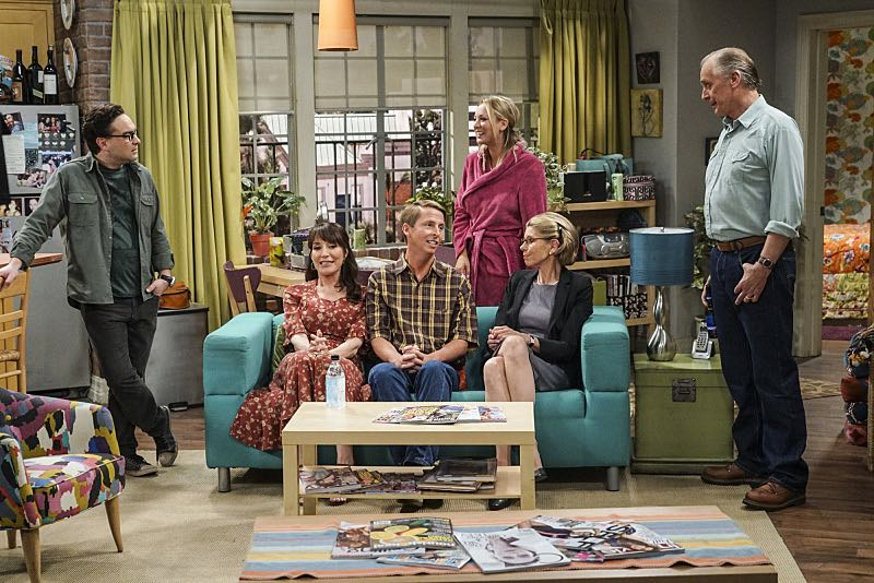 """The Conjugal Conjecture"" -- Pictured: Leonard Hofstadter (Johnny Galecki), Susan (Katey Sagal), Randall (Jack McBrayer), Penny (Kaley Cuoco), Beverly (Christine Baranski) and Wyatt (Keith Carradine). After Sheldon's mother and Leonard's father share an evening together, everyone deals with an awkward morning the next day. Also, Penny's family arrives for the wedding ceremony, including her anxiety-ridden mother, Susan (Katey Sagal), and her drug dealing brother, Randall (Jack McBrayer), on the 10th season premiere of THE BIG BANG THEORY, Monday, Sept. 19 (8:00-8:30 PM, ET/PT), on the CBS Television Network. Dean Norris guest stars as Colonel Williams, an Air Force Representative from the Department of Materiel Command. Christine Baranski, Laurie Metcalf, Judd Hirsch and Keith Carradine return. Photo: Monty Brinton/Warner Bros. Entertainment Inc. © 2016 WBEI. All rights reserved."