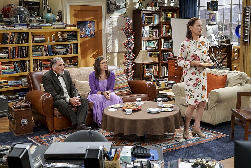 """The Conjugal Conjecture"" -- Pictured: Alfred (Judd Hirsch), Amy Farrah Fowler (Mayim Bialik) and Mary (Laurie Metcalf). After Sheldon's mother and Leonard's father share an evening together, everyone deals with an awkward morning the next day. Also, Penny's family arrives for the wedding ceremony, including her anxiety-ridden mother, Susan (Katey Sagal), and her drug dealing brother, Randall (Jack McBrayer), on the 10th season premiere of THE BIG BANG THEORY, Monday, Sept. 19 (8:00-8:30 PM, ET/PT), on the CBS Television Network. Dean Norris guest stars as Colonel Williams, an Air Force Representative from the Department of Materiel Command. Christine Baranski, Laurie Metcalf, Judd Hirsch and Keith Carradine return. Photo: Monty Brinton/Warner Bros. Entertainment Inc. © 2016 WBEI. All rights reserved."