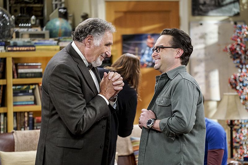 """The Conjugal Conjecture"" -- Pictured: Alfred (Judd Hirsch) and Leonard Hofstadter (Johnny Galecki). After Sheldon's mother and Leonard's father share an evening together, everyone deals with an awkward morning the next day. Also, Penny's family arrives for the wedding ceremony, including her anxiety-ridden mother, Susan (Katey Sagal), and her drug dealing brother, Randall (Jack McBrayer), on the 10th season premiere of THE BIG BANG THEORY, Monday, Sept. 19 (8:00-8:30 PM, ET/PT), on the CBS Television Network. Dean Norris guest stars as Colonel Williams, an Air Force Representative from the Department of Materiel Command. Christine Baranski, Laurie Metcalf, Judd Hirsch and Keith Carradine return. Photo: Monty Brinton/Warner Bros. Entertainment Inc. © 2016 WBEI. All rights reserved."