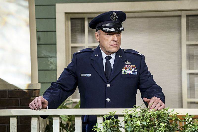 """The Conjugal Conjecture"" -- Pictured: Colonel Williams (Dean Norris). After Sheldon's mother and Leonard's father share an evening together, everyone deals with an awkward morning the next day. Also, Penny's family arrives for the wedding ceremony, including her anxiety-ridden mother, Susan (Katey Sagal), and her drug dealing brother, Randall (Jack McBrayer), on the 10th season premiere of THE BIG BANG THEORY, Monday, Sept. 19 (8:00-8:30 PM, ET/PT), on the CBS Television Network. Dean Norris guest stars as Colonel Williams, an Air Force Representative from the Department of Materiel Command. Christine Baranski, Laurie Metcalf, Judd Hirsch and Keith Carradine return. Photo: Monty Brinton/Warner Bros. Entertainment Inc. © 2016 WBEI. All rights reserved."