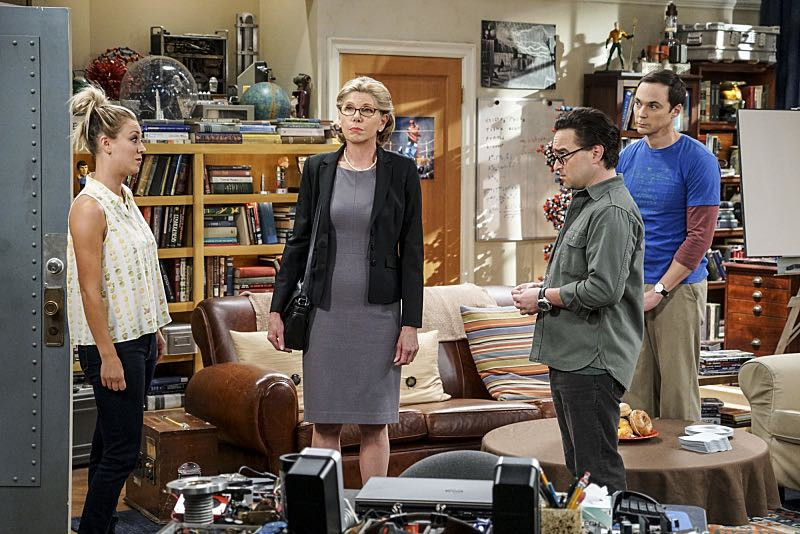 """The Conjugal Conjecture"" -- Pictured: Penny (Kaley Cuoco), Beverly (Christine Baranski), Leonard Hofstadter (Johnny Galecki), and Sheldon Cooper (Jim Parsons). After Sheldon's mother and Leonard's father share an evening together, everyone deals with an awkward morning the next day. Also, Penny's family arrives for the wedding ceremony, including her anxiety-ridden mother, Susan (Katey Sagal), and her drug dealing brother, Randall (Jack McBrayer), on the 10th season premiere of THE BIG BANG THEORY, Monday, Sept. 19 (8:00-8:30 PM, ET/PT), on the CBS Television Network. Dean Norris guest stars as Colonel Williams, an Air Force Representative from the Department of Materiel Command. Christine Baranski, Laurie Metcalf, Judd Hirsch and Keith Carradine return. Photo: Monty Brinton/Warner Bros. Entertainment Inc. © 2016 WBEI. All rights reserved."