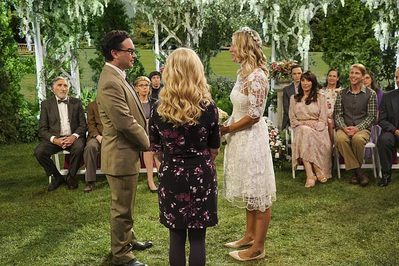 """The Conjugal Conjecture"" -- Pictured: Leonard Hofstadter (Johnny Galecki) and Penny (Kaley Cuoco). After Sheldon's mother and Leonard's father share an evening together, everyone deals with an awkward morning the next day. Also, Penny's family arrives for the wedding ceremony, including her anxiety-ridden mother, Susan (Katey Sagal), and her drug dealing brother, Randall (Jack McBrayer), on the 10th season premiere of THE BIG BANG THEORY, Monday, Sept. 19 (8:00-8:30 PM, ET/PT), on the CBS Television Network. Dean Norris guest stars as Colonel Williams, an Air Force Representative from the Department of Materiel Command. Christine Baranski, Laurie Metcalf, Judd Hirsch and Keith Carradine return. Photo: Monty Brinton/Warner Bros. Entertainment Inc. © 2016 WBEI. All rights reserved."