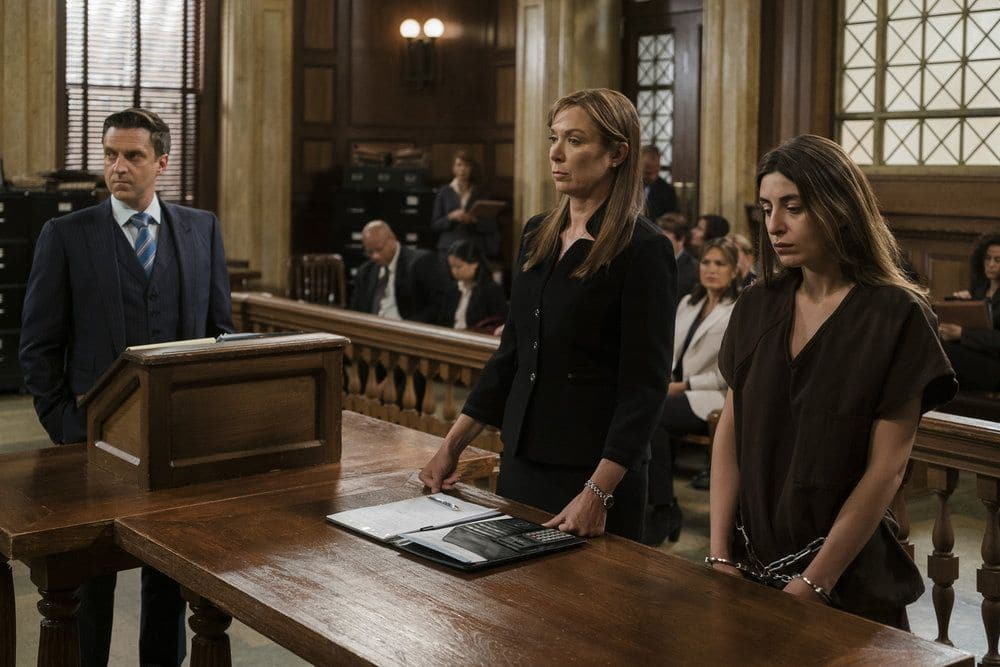 "LAW & ORDER: SPECIAL VICTIMS UNIT -- ""Terrorized"" Episode 1801 -- Pictured: (l-r) Raul Esparza as A.D.A. Rafael Barba, Elizabeth Marvel as Counselor Rita Calhoun, Natia Dune as Ana Kapic -- (Photo by: Michael Parmelee/NBC)"