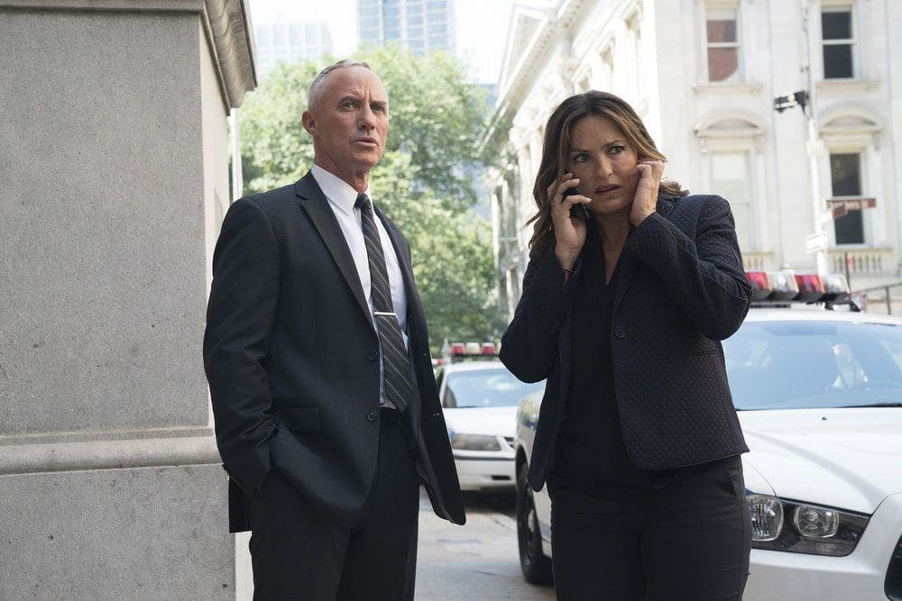 "LAW & ORDER: SPECIAL VICTIMS UNIT -- ""Terrorized"" Episode 1801 -- Pictured: (l-r) Robert John Burke as Captain Ed Tucker, Mariska Hargitay as Lieutenant Olivia Benson -- (Photo by: Peter Kramer/NBC)"