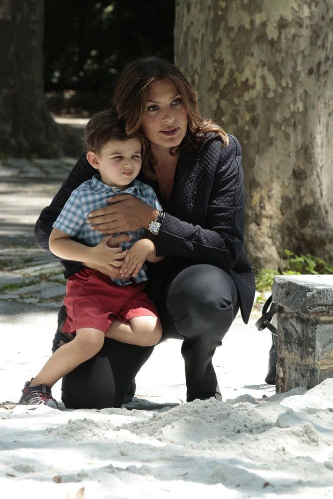 "LAW & ORDER: SPECIAL VICTIMS UNIT -- ""Terrorized"" Episode 1801 -- Pictured: (l-r) Jack Nawada-Braunwart as Noah Porter-Benson, Mariska Hargitay as Lieutenant Olivia Benson -- (Photo by: Giovanni Ruffino/NBC)"