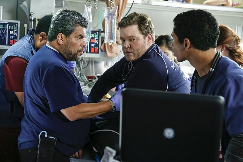 """""""Second Year"""" -- Colonel Ethan Willis (Rob Lowe) joins the team at Angels Memorial from the Department of Defense and takes Dr. Mike Leighton on a harrowing helicopter ride to save shark bite victims in Malibu, on the second season premiere of CODE BLACK, Wednesday, Sept. 28 (10:00-11:00PM, ET/PT), on the CBS Television Network.  Pictured: Luis Guzmán (Jesse Sallander), Harry Ford (Dr. Angus Leighton) and Noah Gray- Cabey (Dr. Elliot Han)  Photo: Cliff Lipson/CBS ©2016 CBS Broadcasting, Inc. All Rights Reserved"""