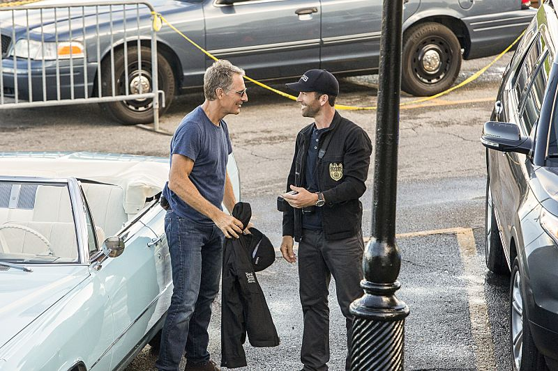 """""""Aftershocks"""" -- The NCIS team partners with several federal agencies to track a sniper who is targeting crowded events in the city. Also, FBI Special Agent Tammy Gregorio (new cast member Vanessa Ferlito) arrives to investigate Pride and his team, on the third season premiere of NCIS: New Orleans, Tuesday, Sept. 20 (10:00-11:00 PM, ET/PT), on the CBS Television Network. Pictured L-R: Scott Bakula as Special Agent Dwayne Pride and Lucas Black as Special Agent Christopher LaSalle Photo: Skip Bolen/CBS ©2016 CBS Broadcasting, Inc. All Rights Reserved"""