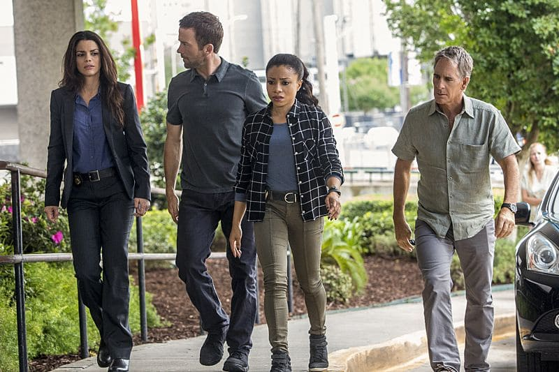 """""""Aftershocks"""" -- The NCIS team partners with several federal agencies to track a sniper who is targeting crowded events in the city. Also, FBI Special Agent Tammy Gregorio (new cast member Vanessa Ferlito) arrives to investigate Pride and his team, on the third season premiere of NCIS: New Orleans, Tuesday, Sept. 20 (10:00-11:00 PM, ET/PT), on the CBS Television Network. Pictured L-R: Vanessa Ferlito as FBI Special Agent Tammy Gregorio, Lucas Black as Special Agent Christopher LaSalle, Shalita Grant as Sonja Percy, and Scott Bakula as Special Agent Dwayne Pride Photo: Skip Bolen/CBS ©2016 CBS Broadcasting, Inc. All Rights Reserved"""