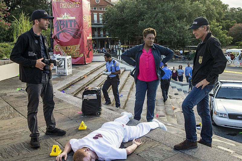 """""""Aftershocks"""" -- The NCIS team partners with several federal agencies to track a sniper who is targeting crowded events in the city. Also, FBI Special Agent Tammy Gregorio (new cast member Vanessa Ferlito) arrives to investigate Pride and his team, on the third season premiere of NCIS: New Orleans, Tuesday, Sept. 20 (10:00-11:00 PM, ET/PT), on the CBS Television Network. Pictured L-R: Lucas Black as Special Agent Christopher LaSalle, CCH Pounder as Dr. Loretta Wade, and Scott Bakula as Special Agent Dwayne Pride Photo: Skip Bolen/CBS ©2016 CBS Broadcasting, Inc. All Rights Reserved"""