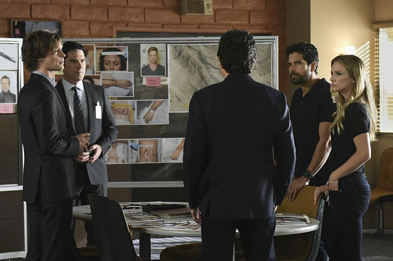 """""""The Crimson King"""" -- Agent Luke Alvez (Adam Rodriguez) joins the BAU team, which is tasked with capturing a killer who escaped prison with 13 other convicts at the end of last season, on the 12th season premiere of CRIMINAL MINDS, Wednesday, Sept. 28 (9:00-10:00 PM, ET/PT), on the CBS Television Network. Pictured: Matthew Gray Gubler (Spencer Reid), Thomas Gibson (Aaron Hotchner), Adam Rodriguez (Luke Alvez) and A. J. Cook (Jennifer """"JJ"""" Jareau), Joe Mantegna (David Rossi) facing away. Photo: Eddy Chen/CBS ©2016 CBS Broadcasting, Inc. All Rights Reserved"""