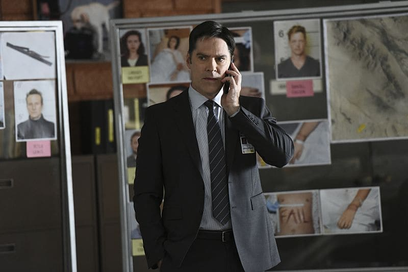 """""""The Crimson King"""" -- Agent Luke Alvez (Adam Rodriguez) joins the BAU team, which is tasked with capturing a killer who escaped prison with 13 other convicts at the end of last season, on the 12th season premiere of CRIMINAL MINDS, Wednesday, Sept. 28 (9:00-10:00 PM, ET/PT), on the CBS Television Network. Pictured: Thomas Gibson as Aaron Hotchner Photo: Eddy Chen/CBS ©2016 CBS Broadcasting, Inc. All Rights Reserved"""