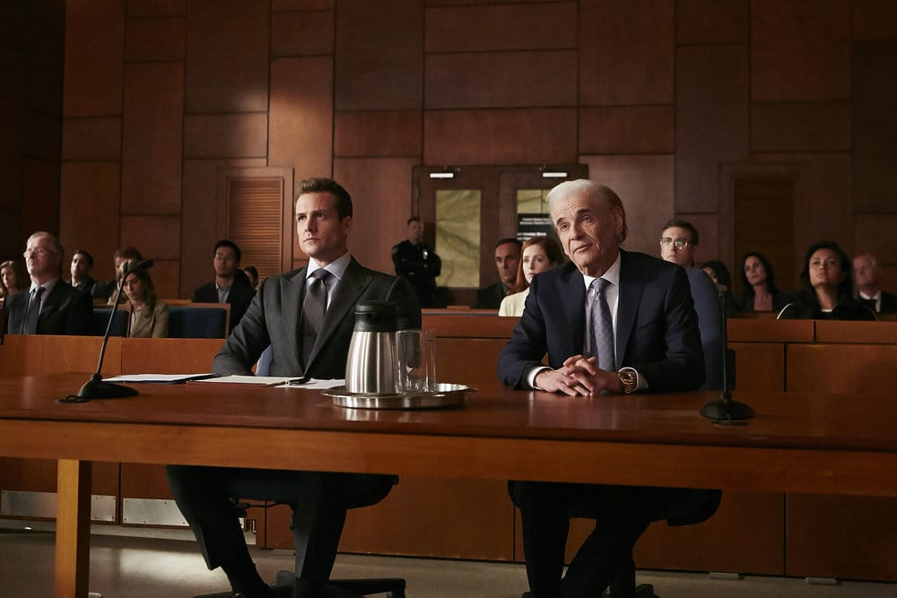 """SUITS -- """"Borrowed Time"""" Episode 608 -- Pictured: (l-r) Gabriel Macht as Harvey Specter, Alan Rosenberg as William Sutter -- (Photo by: Ian Watson/USA Network)"""