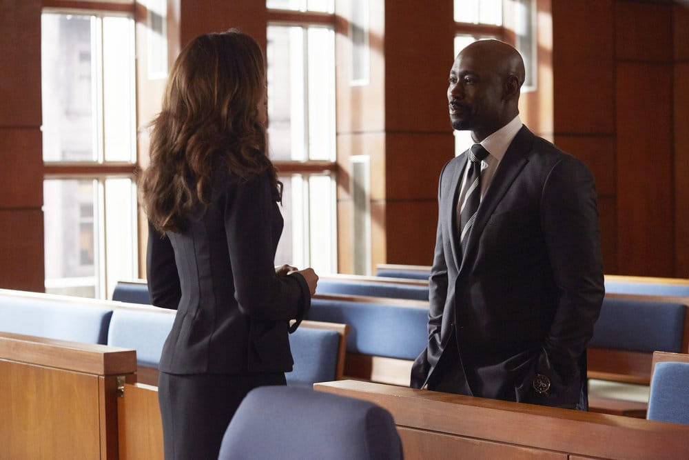 """SUITS -- """"Borrowed Time"""" Episode 608 -- Pictured: D.B. Woodside as Jeff Malone -- (Photo by: Shane Mahood/USA Network)"""