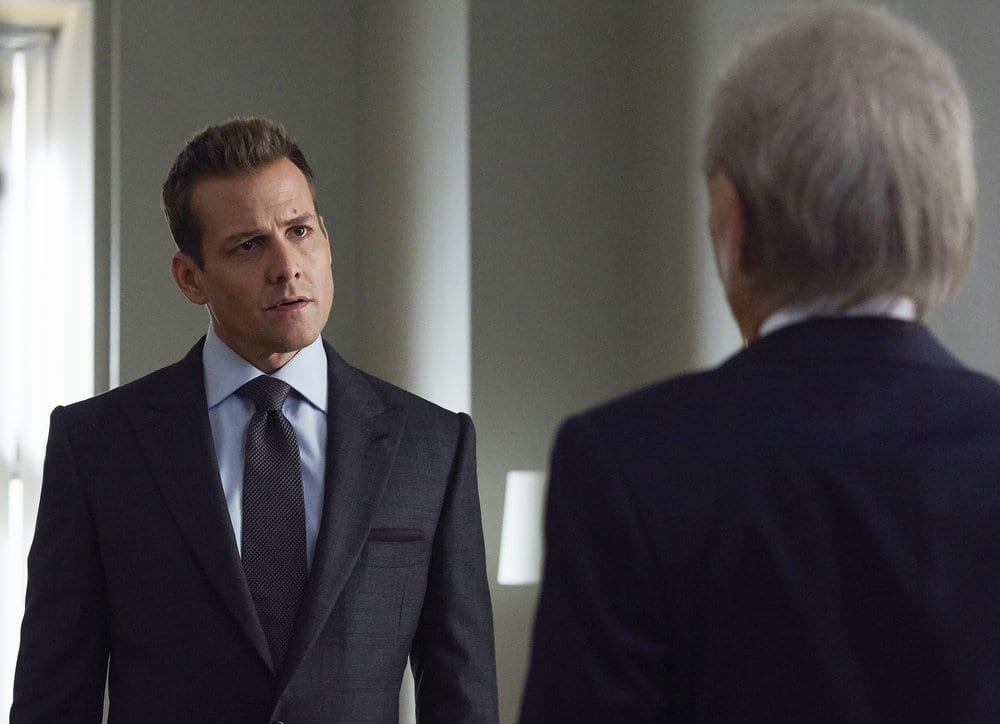 """SUITS -- """"Borrowed Time"""" Episode 608 -- Pictured: Gabriel Macht as Harvey Specter -- (Photo by: Shane Mahood/USA Network)"""