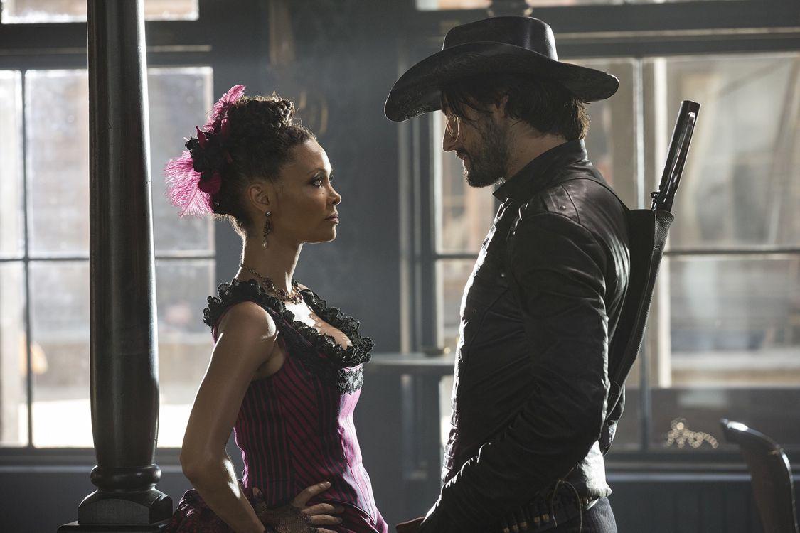 Thandie Newton as Maeve and Rodrigo Santoro as Hector Escaton (Photo : John P. Johnson/HBO)