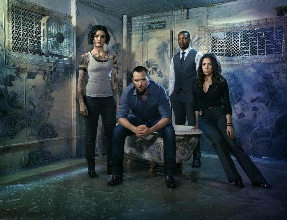 BLINDSPOT -- Season: 2 -- Pictured: (l-r) Jaimie Alexander as Jane Doe, Sullivan Stapleton as Kurt Weller, Rob Brown as Edgar Reade, Audrey Esparza as Tasha Zapata -- (Photo by: Matthias Clamer/NBC)