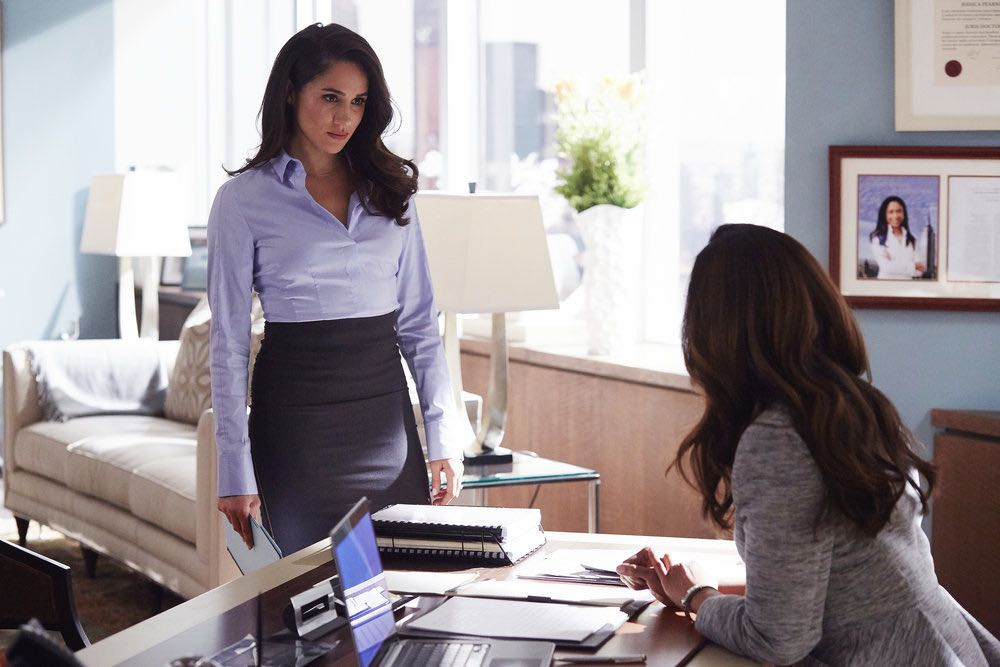 """SUITS -- """"Shake the Trees"""" Episode 607 -- Pictured: Meghan Markle as Rachel Zane -- (Photo by: Shane Mahood/USA Network)"""