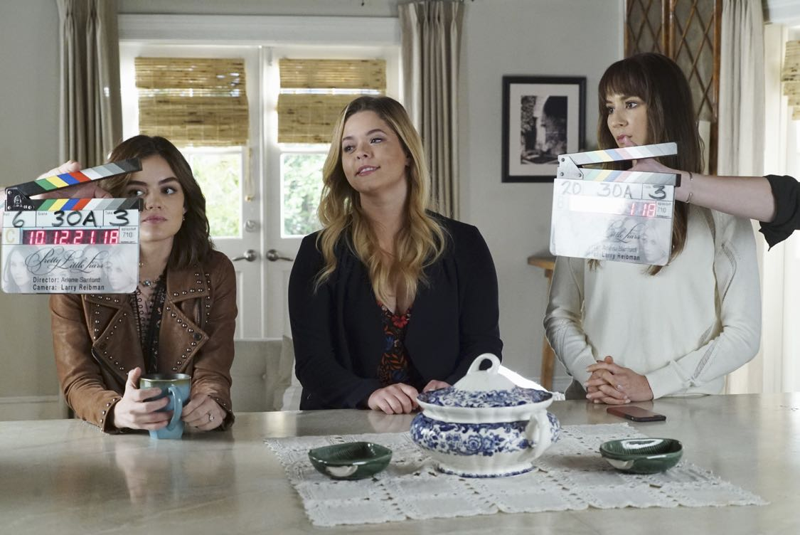 """PRETTY LITTLE LIARS - """"The Darkest Knight"""" - The PLLs confront old foes head-on and mayhem ensues in """"The Darkest Knight,"""" the summer finale of the hit original series """"Pretty Little Liars,"""" airing TUESDAY, AUGUST 30 (8:00-9:00 p.m. EDT). Fans can catch up on all of the drama with an all-day marathon of season seven starting at 11:00 a.m. EDT and running up to the one-hour summer finale at 8:00 p.m. EDT. (Freeform/Ron Tom) LUCY HALE, SASHA PIETERSE, TROIAN BELLISARIO"""