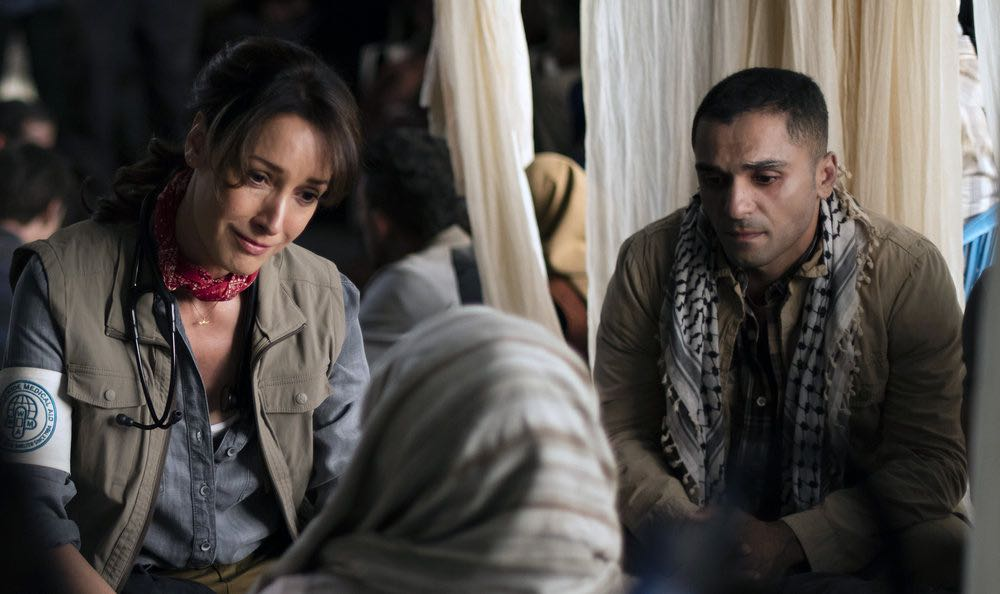"THE NIGHT SHIFT-- ""Emergent"" Episode 312 -- Pictured: (l-r) Jennifer Beals as Syd Jennings, Sammy Sheik as Besam -- (Photo by: Cathy Kanavy/NBC)"