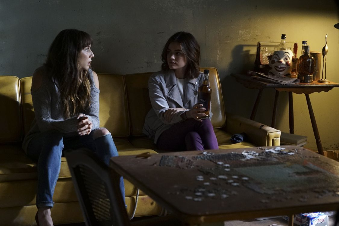 """PRETTY LITTLE LIARS - """"Exes and OMGs"""" - Emily's ex Paige unexpectedly returns to Rosewood, as does the ominous Mrs. Grunwald, in """"Exes and OMGs,"""" an all-new episode of Freeform's hit original series """"Pretty Little Liars,"""" airing TUESDAY, AUGUST 16 (8:00 - 9:00 p.m. EDT), the new name for ABC Family. (Freeform/Byron Cohen) TROIAN BELLISARIO, LUCY HALE"""