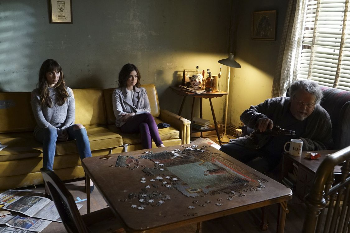 """PRETTY LITTLE LIARS - """"Exes and OMGs"""" - Emily's ex Paige unexpectedly returns to Rosewood, as does the ominous Mrs. Grunwald, in """"Exes and OMGs,"""" an all-new episode of Freeform's hit original series """"Pretty Little Liars,"""" airing TUESDAY, AUGUST 16 (8:00 - 9:00 p.m. EDT), the new name for ABC Family. (Freeform/Byron Cohen) TROIAN BELLISARIO, LUCY HALE, KEITH SZARABAJKA"""