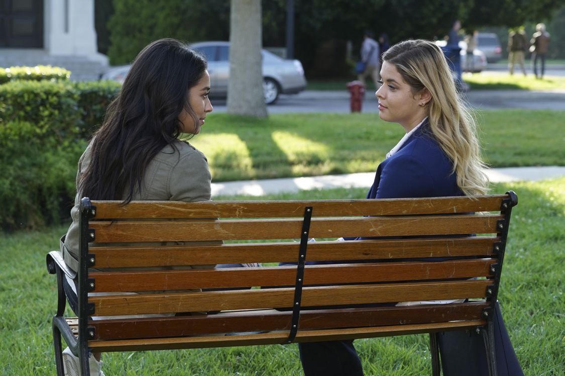 """PRETTY LITTLE LIARS - """"Exes and OMGs"""" - Emily's ex Paige unexpectedly returns to Rosewood, as does the ominous Mrs. Grunwald, in """"Exes and OMGs,"""" an all-new episode of Freeform's hit original series """"Pretty Little Liars,"""" airing TUESDAY, AUGUST 16 (8:00 - 9:00 p.m. EDT), the new name for ABC Family. (Freeform/Byron Cohen) SHAY MITCHELL, SASHA PIETERSE"""