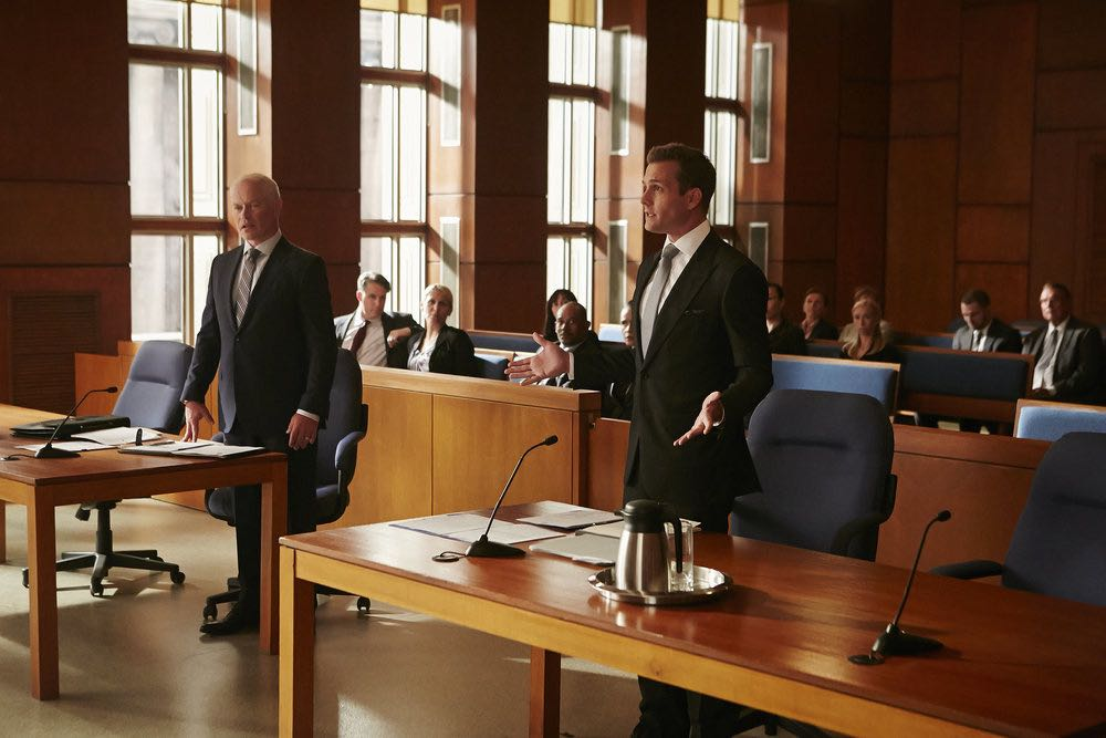 """SUITS -- """"Spain"""" Episode 606 -- Pictured: (l-r) Neal McDonough as Sean Cahill, Gabriel Macht as Harvey Specter -- (Photo by: Ian Watson/USA Network)"""