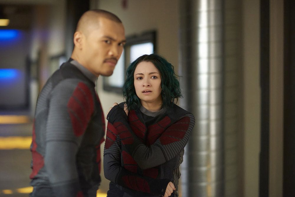 "DARK MATTER -- ""She's One of Them Now"" Episode 207 -- Pictured:  (l-r) Alex Mallari Jr. as Four, Jodelle Ferland as Five -- (Photo by: Russ Martin/Prodigy Pictures/Syfy)"