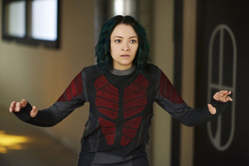 "DARK MATTER -- ""She's One of Them Now"" Episode 207 -- Pictured: Jodelle Ferland as Five -- (Photo by: Russ Martin/Prodigy Pictures/Syfy)"