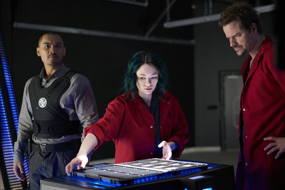 "DARK MATTER -- ""She's One of Them Now"" Episode 207 -- Pictured:  (l-r) Alex Mallari Jr. as Four, Jodelle Ferland as Five, Anthony Lemke as Three -- (Photo by: Russ Martin/Prodigy Pictures/Syfy)"