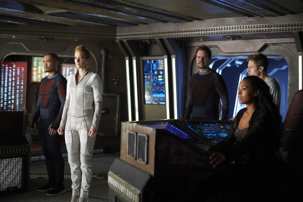 "DARK MATTER -- ""She's One of Them Now"" Episode 207 -- Pictured:  (l-r) Alex Mallari Jr. as Four, Zoie Palmer as The Android, Anthony Lemke as Three , Melanie Liburd as Nyx, Shaun Sipos as Devon -- (Photo by: Russ Martin/Prodigy Pictures/Syfy)"