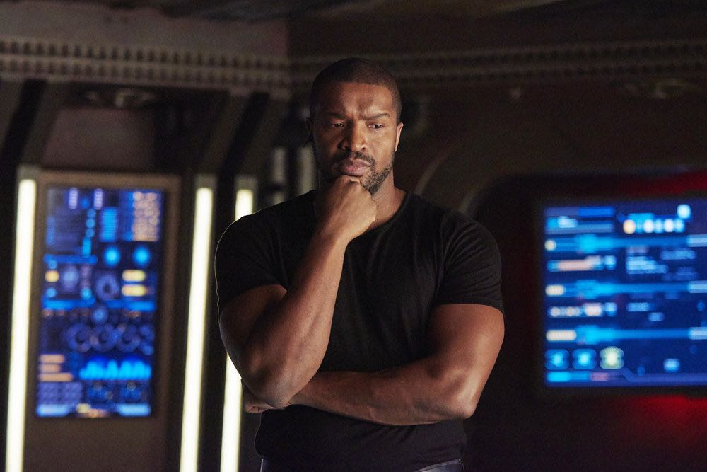 "DARK MATTER -- ""She's One of Them Now"" Episode 207 -- Pictured:  Roger Cross as Six -- (Photo by: Russ Martin/Prodigy Pictures/Syfy)"