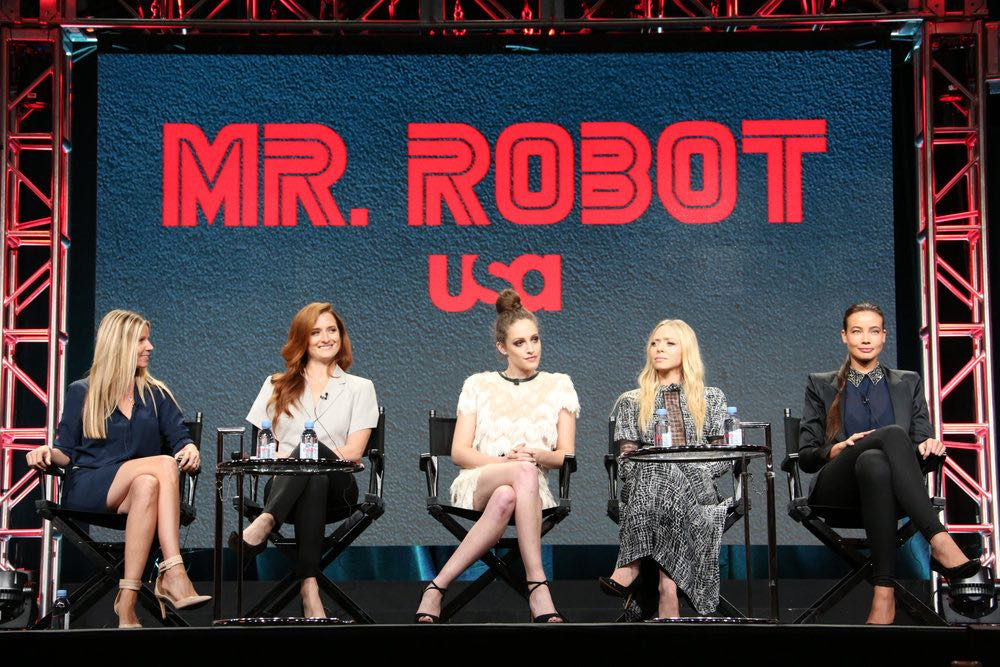 "NBCUNIVERSAL EVENTS -- NBCUniversal Summer Press Tour, August 3, 2016 -- USA's ""Mr. Robot"" Panel: ""Decoding Season_2.0 With The Women of Mr. Robot"" -- Pictured: (l-r) Dawn Olmsted, Executive Vice President, Universal Cable Productions and Wilshire Studios; Grace Gummer, Carly Chaikin, Portia Doubleday, Stephanie Corneliussen -- (Photo by: Evans Vestal Ward/NBCUniversal)"