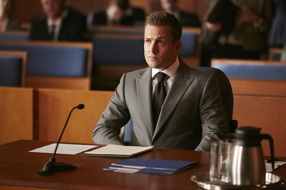 "SUITS -- ""Trust"" Episode 605 -- Pictured: Gabriel Macht as Harvey Specter -- (Photo by: Ian Watson/USA Network)"