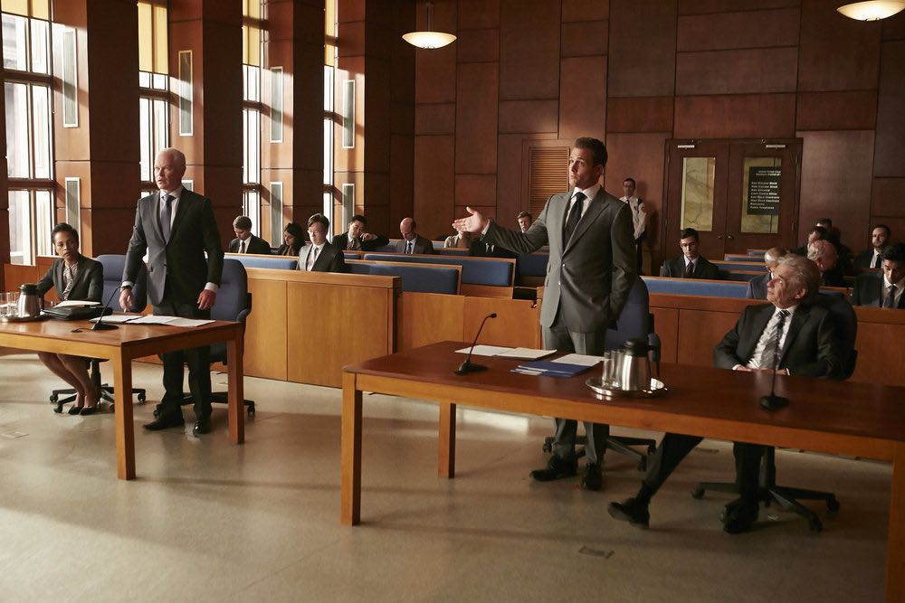 "SUITS -- ""Trust"" Episode 605 -- Pictured: (l-r) Neal McDonough as Sean Cahill, Gabriel Macht as Harvey Specter, Alan Rosenberg as William Sutter -- (Photo by: Ian Watson/USA Network)"