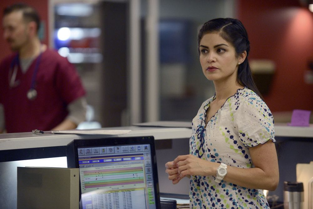 """THE NIGHT SHIFT-- """"Between a Rock and a Hard Place"""" Episode 310 -- Pictured: Alma Sisneros as Nurse Diaz -- (Photo by: Ursula Coyote/NBC)"""
