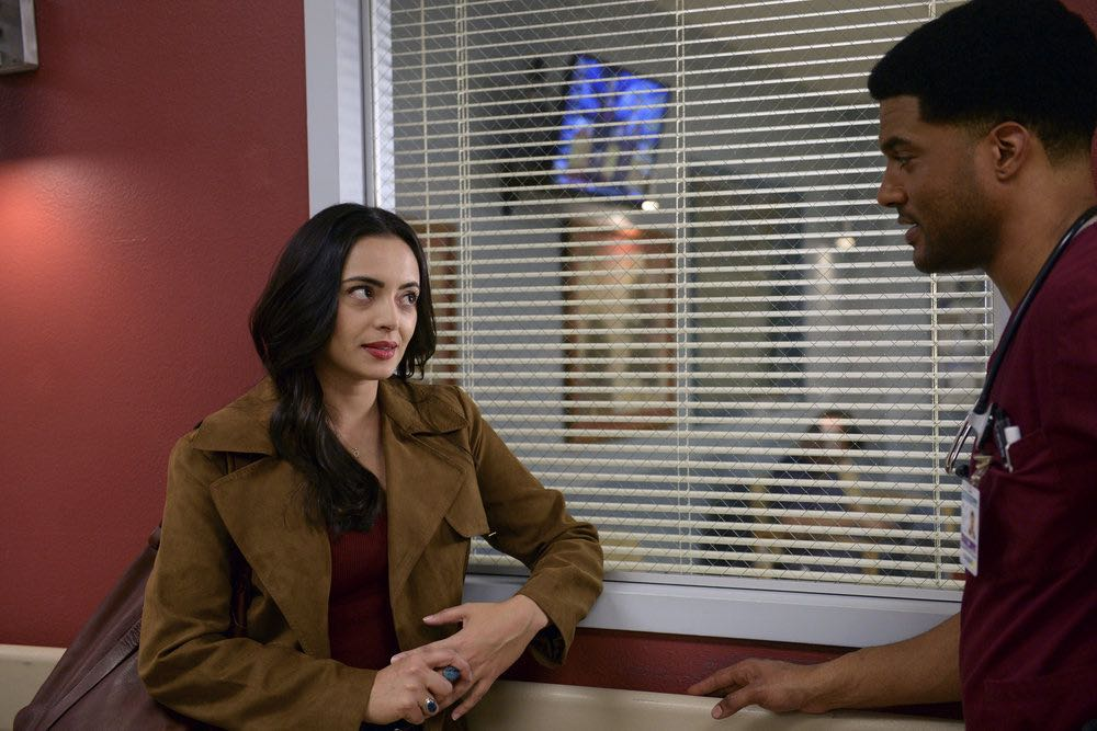 """THE NIGHT SHIFT-- """"Between a Rock and a Hard Place"""" Episode 310 -- Pictured: (l-r) Briana Marin as Nina Alvarez, J.R. Lemon as Kenny Fournette -- (Photo by: Ursula Coyote/NBC)"""
