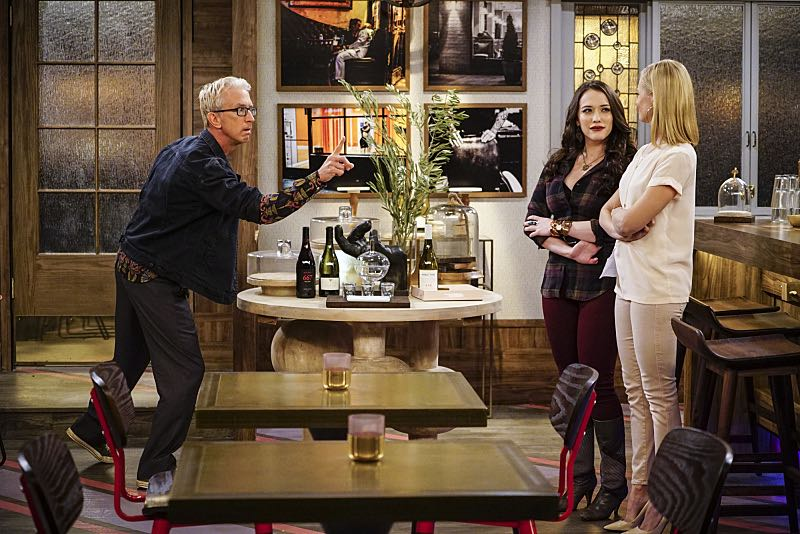 """And The Two Openings: Part One"" -- Pictured: J. Petto (Andy Dick), Max Black (Kat Dennings) and Caroline Channing (Beth Behrs).As Max and Caroline, now part owners of the diner, put the finishing touches on their newly converted Dessert Bar, Max deals with the aftermath of her recent breakup with Randy, and Sophie and Oleg prepare for the birth of their baby, on the sixth season premiere of 2 BROKE GIRLS, Monday, Oct. 10 (9:00-9:30 PM, ET/PT) on the CBS Television Network. Photo: Sonja Flemming/CBS ©2016 CBS Broadcasting, Inc. All Rights Reserved"